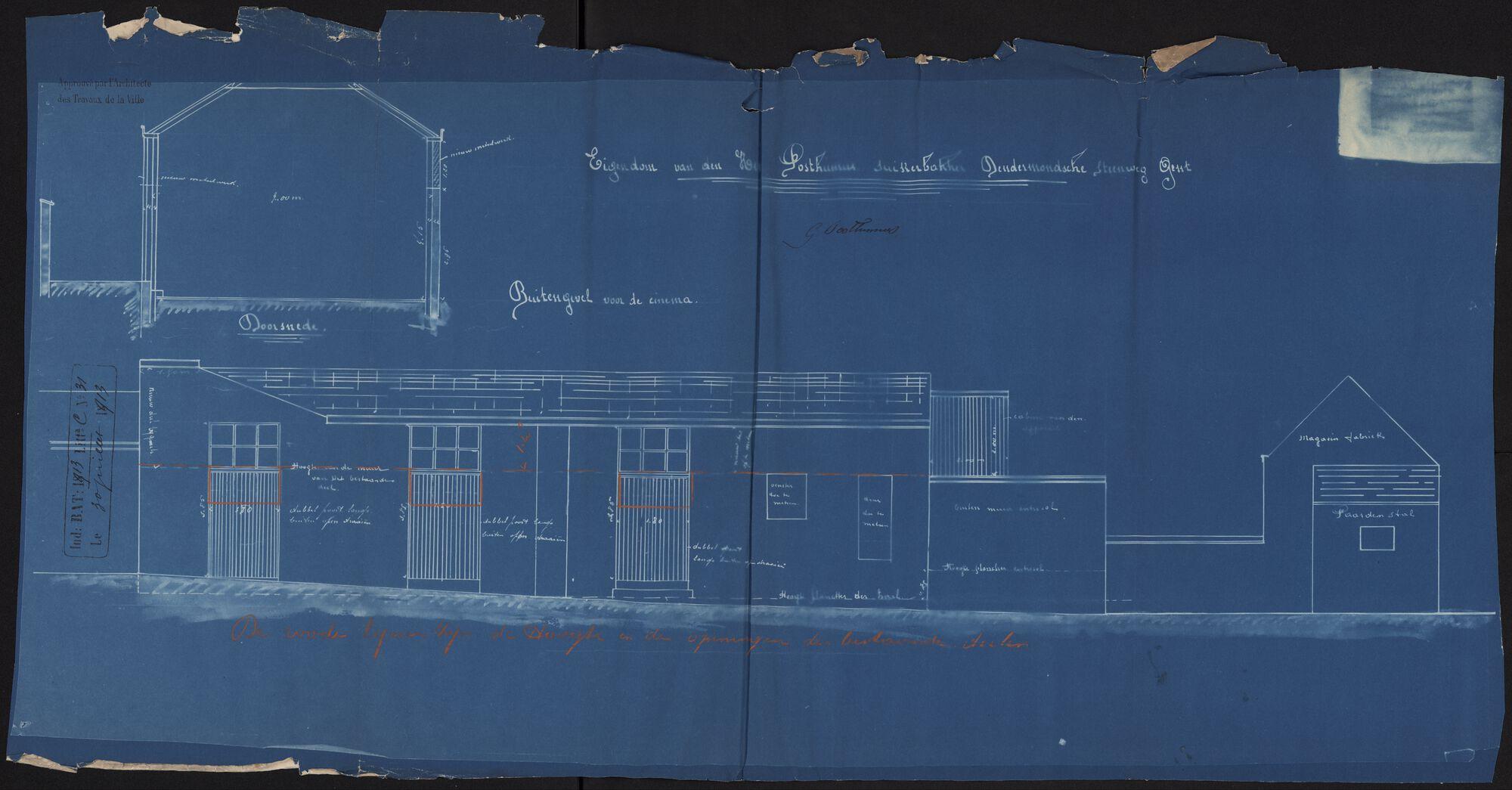 Gent: Dendermondsesteenweg: cinema Scala: bouwdossier, 1913