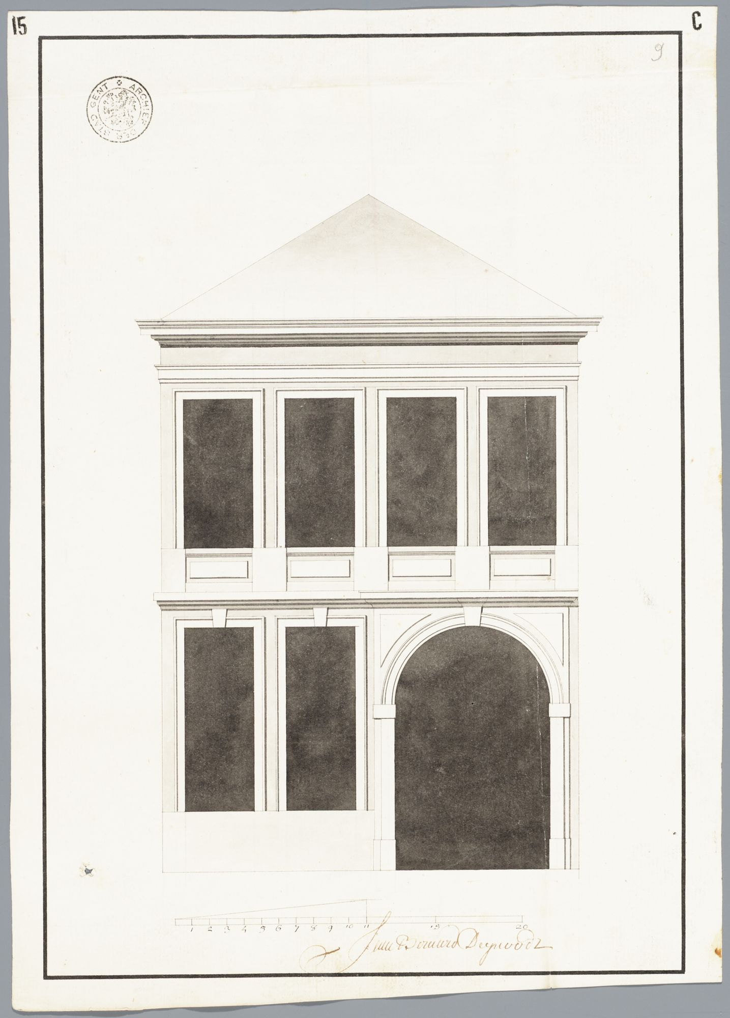 Gent: Ajuinlei, 1785: opstand voorgevel