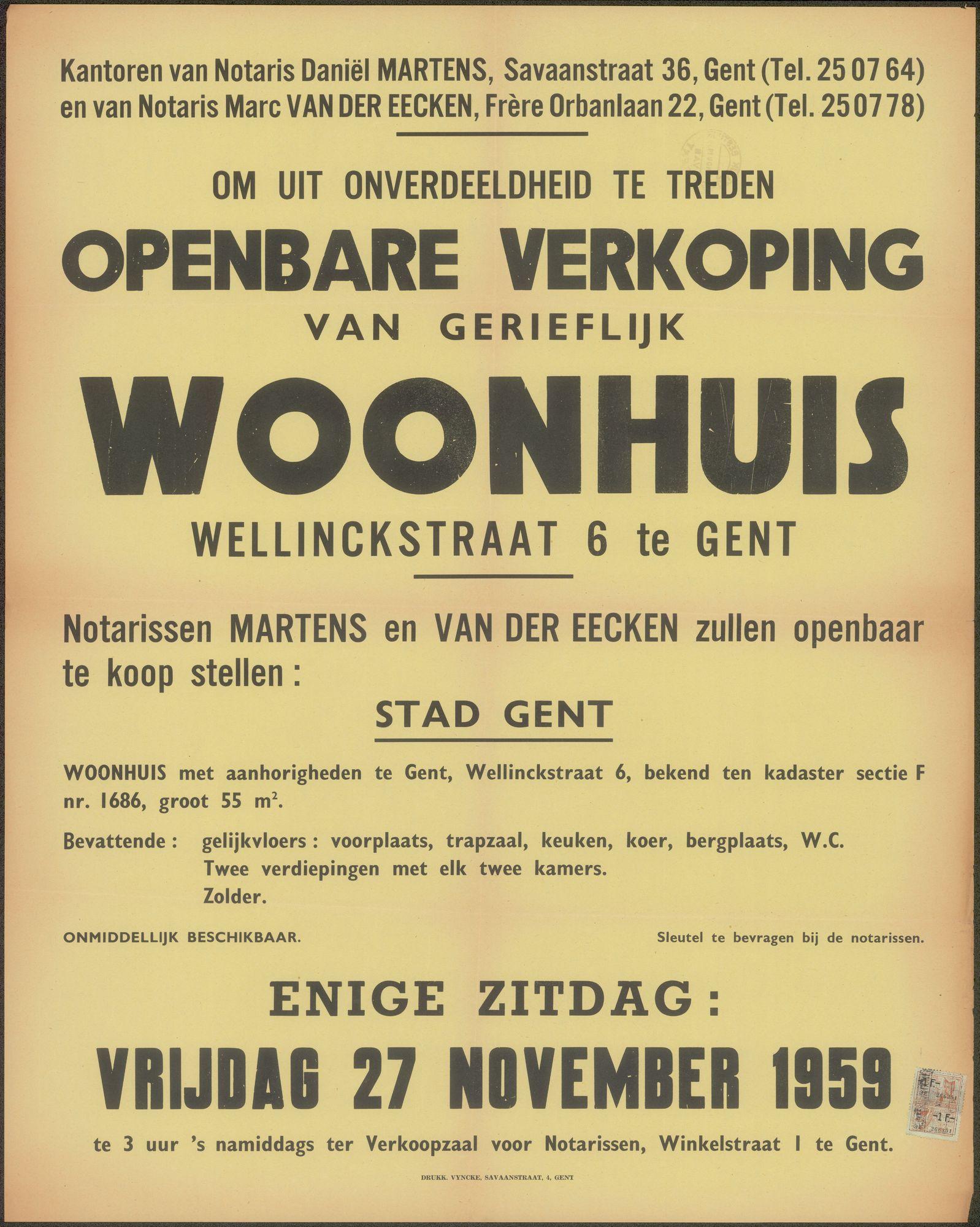 Openbare verkoop van gerieflijk woonhuis Wellinckstraat, nr.6 te Gent, Gent, 27 november 1959