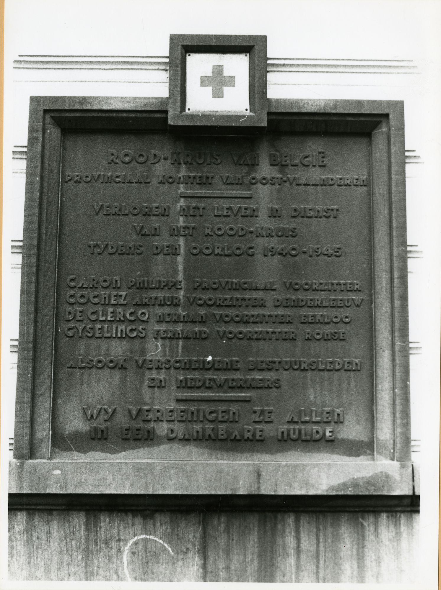 Gent: Hubert frere-orbanlaan: Gedenksteen rood kruis, 1979