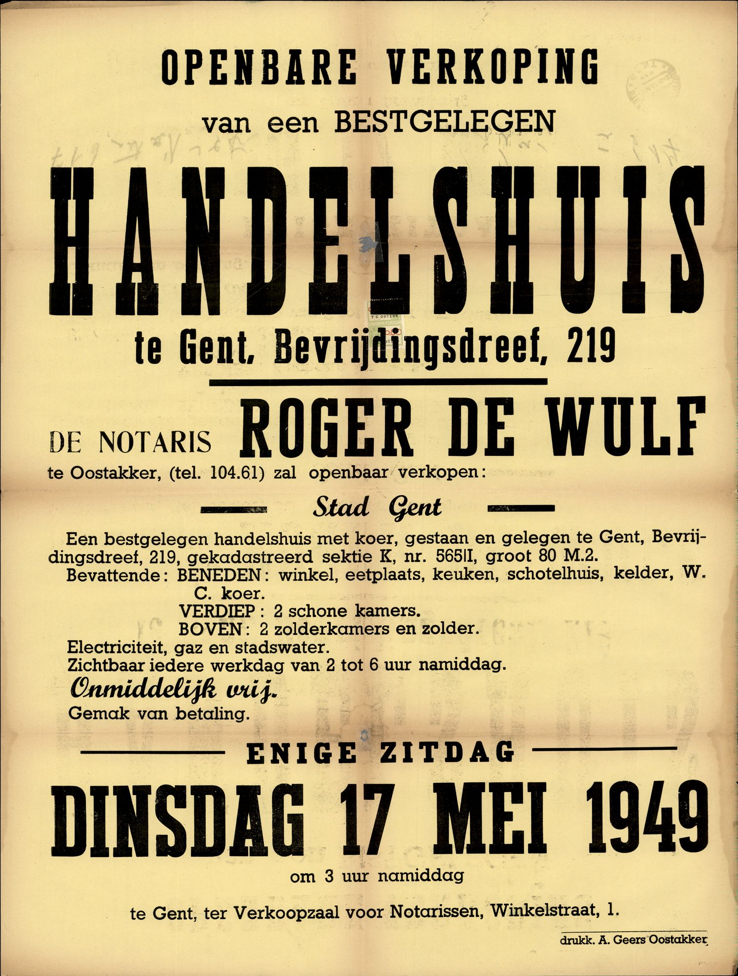 Openbare verkoop van een bestgelegen handelshuis te Gent, Bevrijdingsdreef, nr.219, Gent, 17 mei 1949