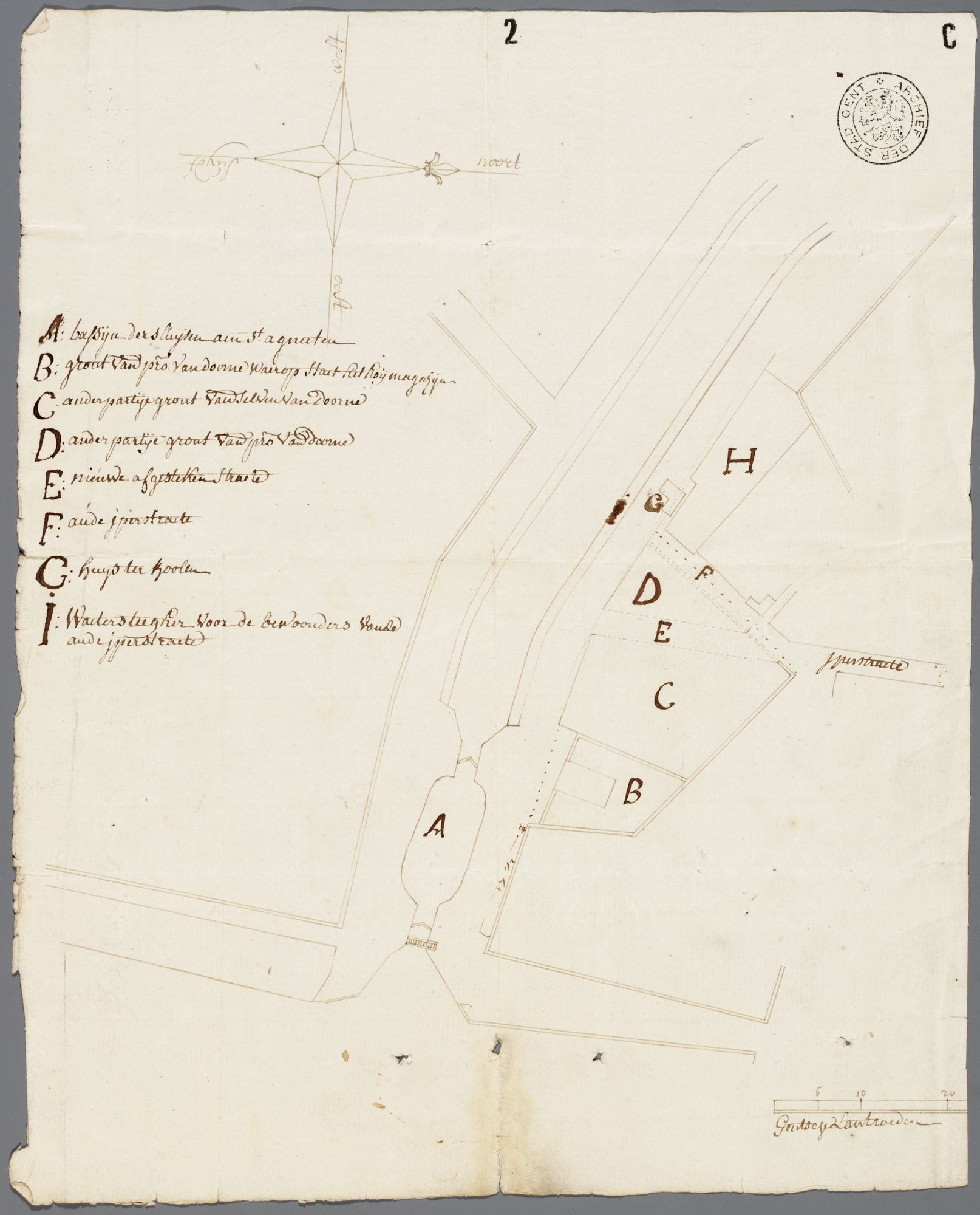 Gent: Coupure, 1756: kaart Coupure omgeving Agnetebrug, Lindenlei en Ieperstraat