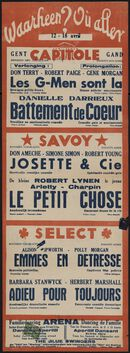 Waarheen? Où aller? Filmvertoningen in Capitole, Savoy, Select, Gent, 12 - 18 april 1940