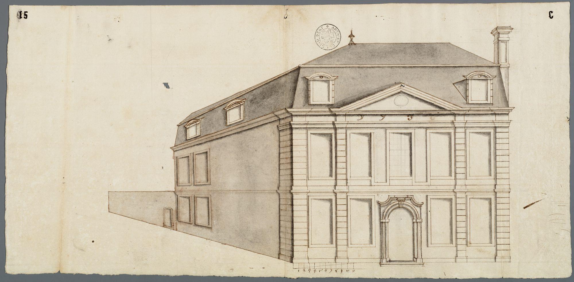 Gent: Korenlei, 1730: perspectieftekening gevels