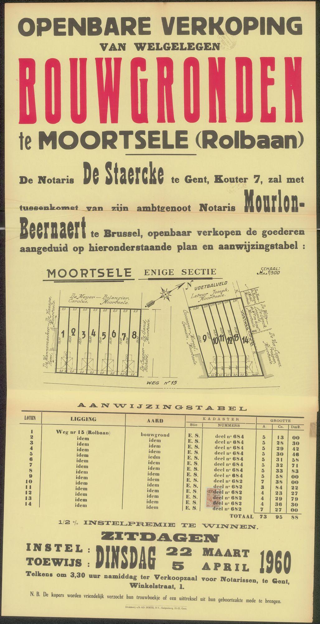 Openbare verkoop van welgelegen bouwgronden te Moortsele (Rolbaan), Gent, 6 april 1960