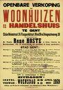 Openbare verkoop van woonhuizen en handelshuis te Gent, Slinke Molenstraat, nr.24, Vlasgaardstraat, nrs.36 en 38 en Drongensteenweg, nr.28, Gent, 13 mei 1959