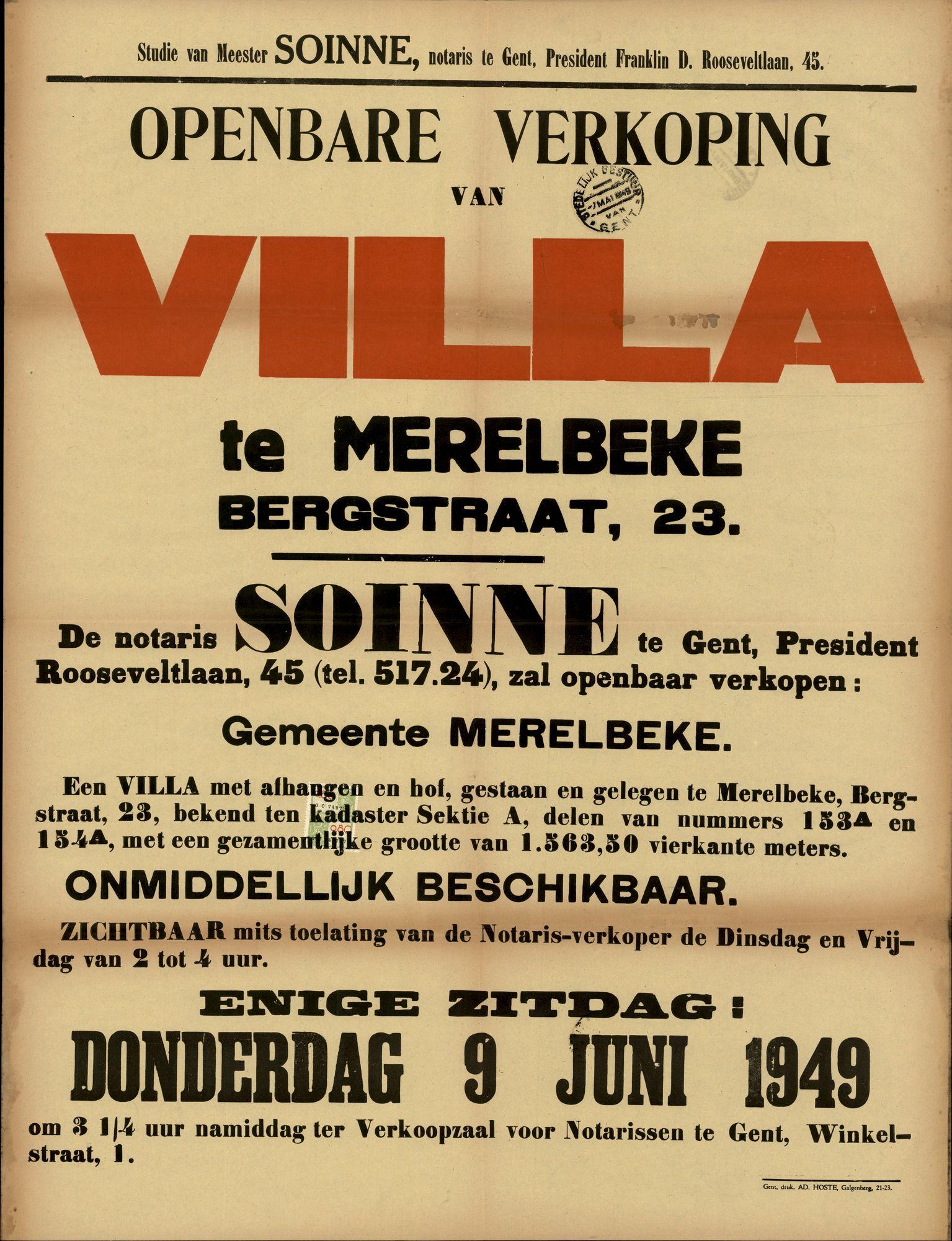 Openbare verkoop van Villa te Merelbeke, Bergstraat, nr.23, Gent, 9 juni 1949