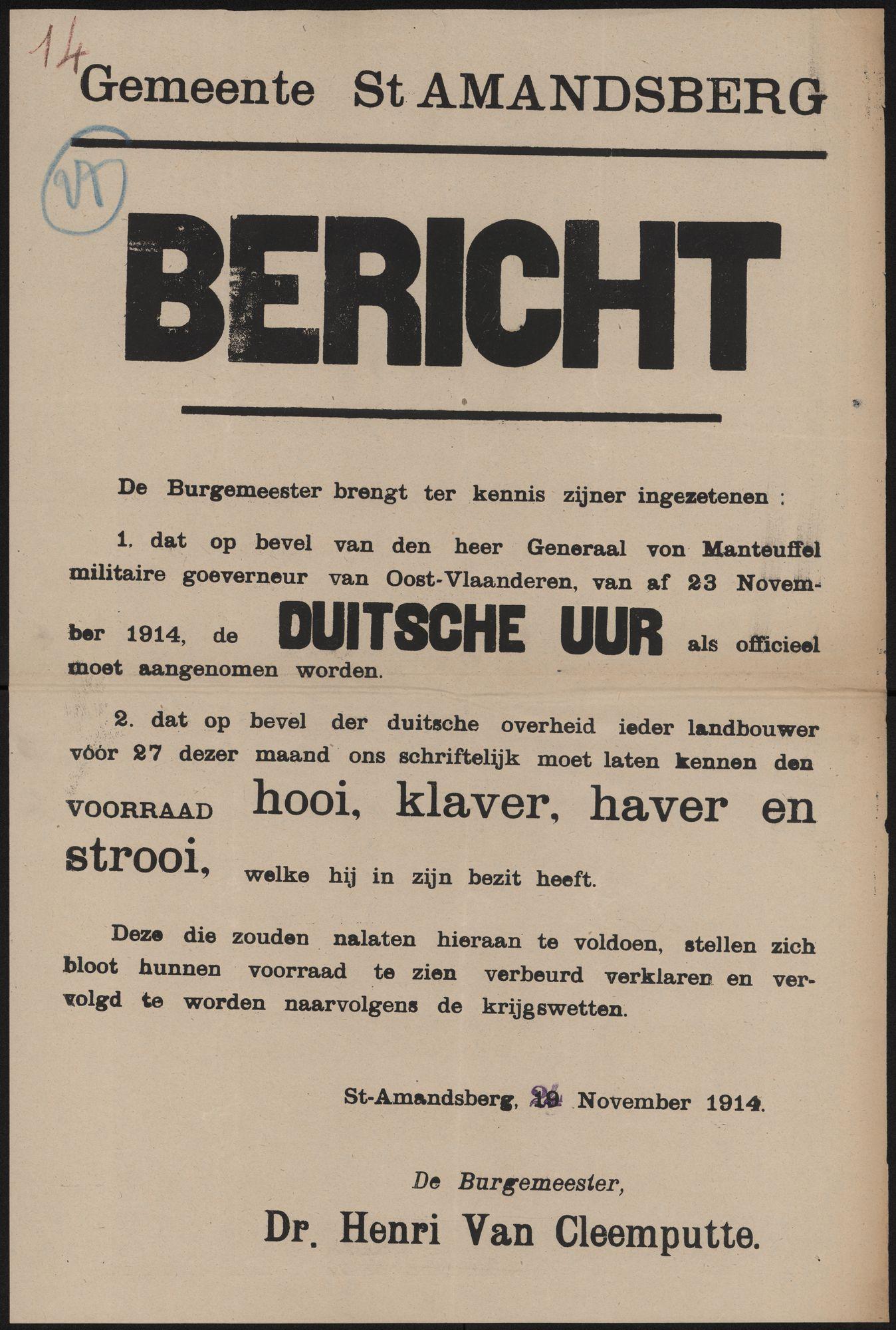 Gemeente St Amandsberg, Bericht.