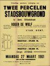 Vrijwillige openbare verkoop van twee percelen stadsbouwgrond te Gent, Olifantstraat, Gent, 27 maart 1961