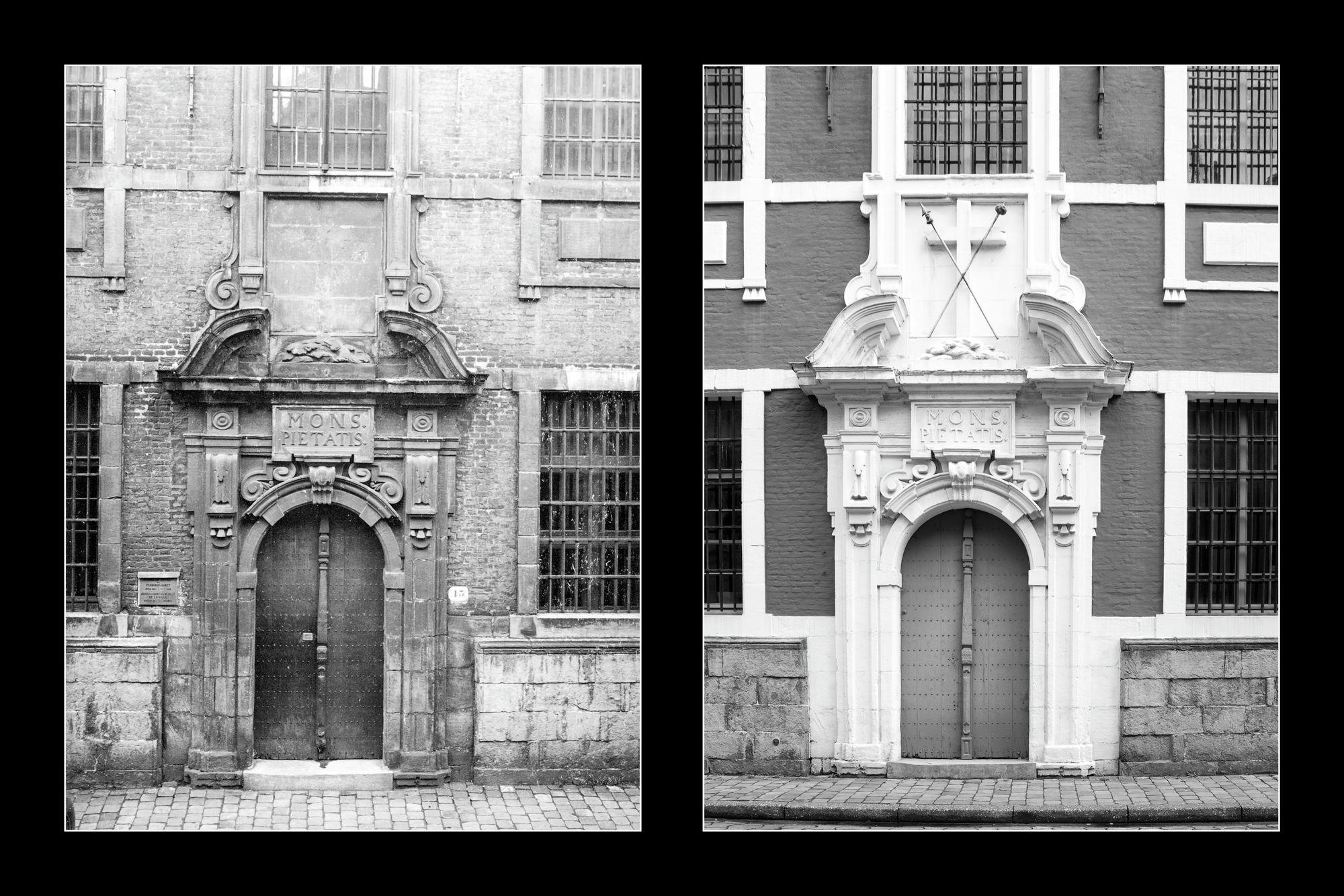 Gent: Abrahamstraat: Berg van Barmhartigheid: monumentale voordeur