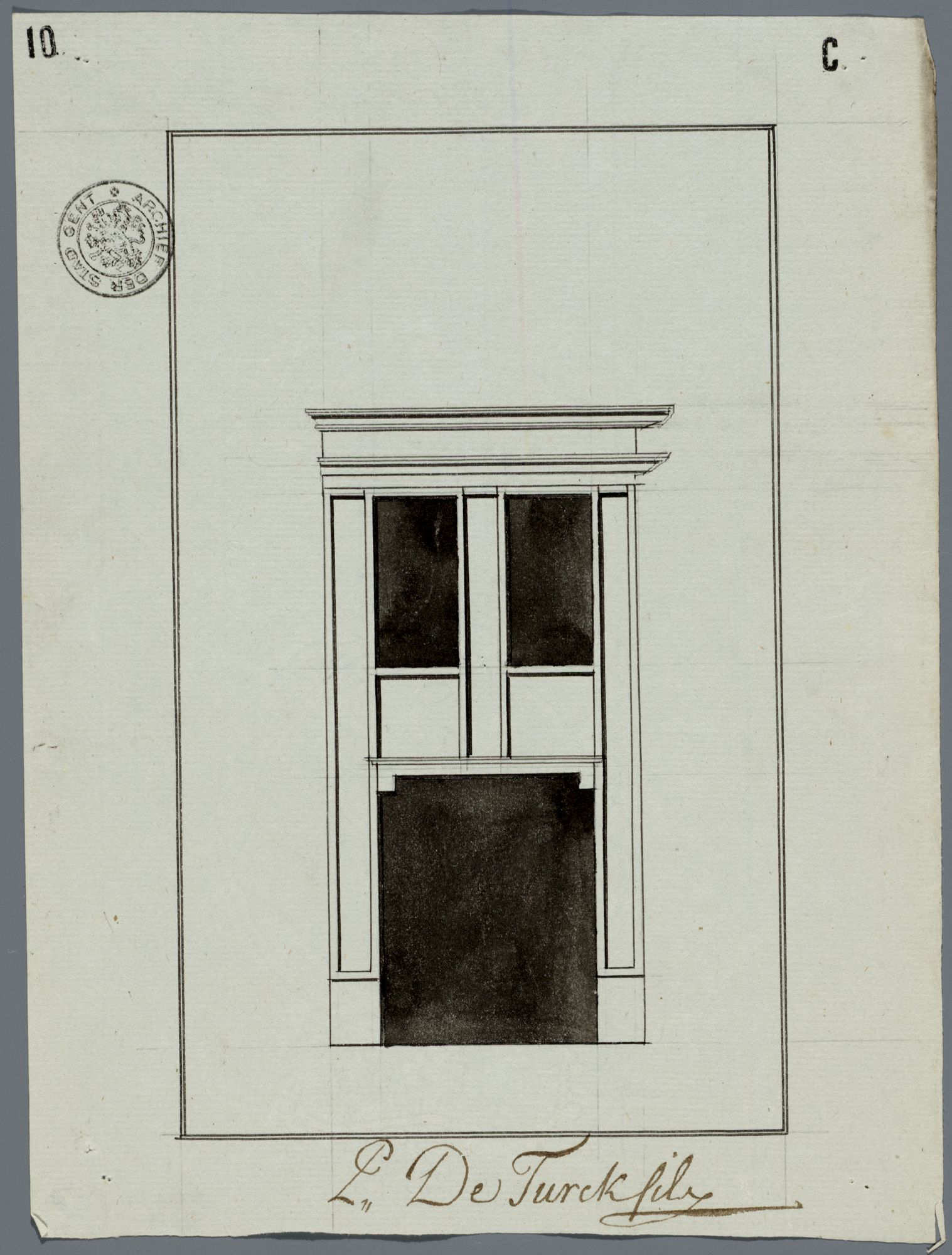 Gent: Huidevetterskaai, 1792: opstand voorgevel: oude toestand
