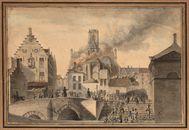 Gent: Wijdenaard (nu Bisdomplein), Kuldershuis (jongensweeshuis) en brand in Sint-Baafskathedraal (koor)