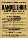Openbare verkoop van een welgelegen handelshuis te Gent, Korte Meire, nr.16 (Korte Meer), Gent, 13 mei 1949