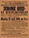 Belangrijke openbare verkoop van schone huis- en bureelmeubelen te Gent, Kortrijkschensteenweg, nr.72 (Kortrijksesteenweg), 25 april 1949