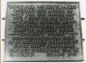 Gent: Goudstraat 5-13: gedenkplaat: Heilige Coleta