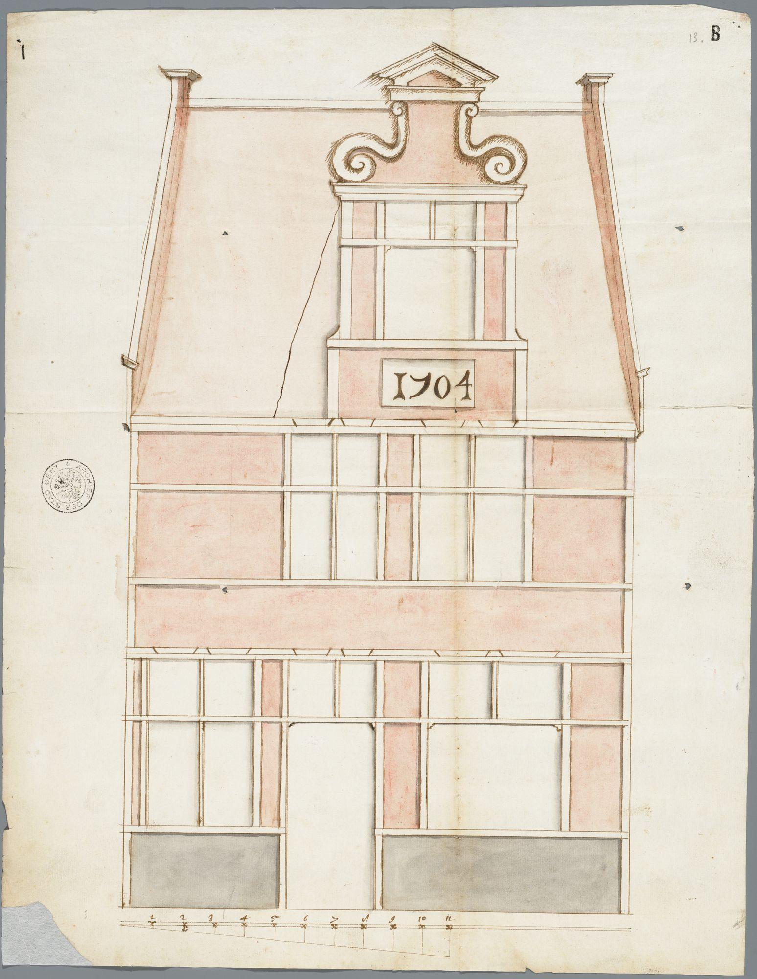 Gent: Apostelhuizen, 1703: opstand voorgevel