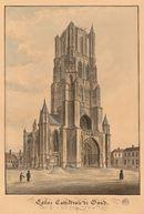 Gent: Sint-Baafskathedraal (westgevel) en Sint-Baafsplein