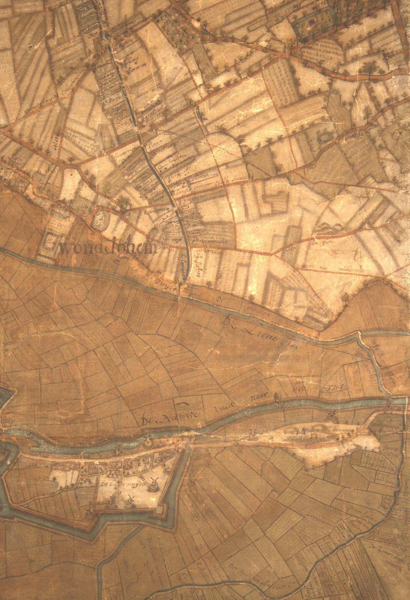 Wondelgem: kaartdeel 02 (X) van de Kaart van Gent en het Vrije van Gent afgebakend door de Rietgracht, Jacques Horenbault, 1619