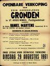 Openbare verkoop van zeer goedgelegen gronden te Sint.-Kruis-Winkel, Pachtgoedstraat, Gent, 29 augustus 1961