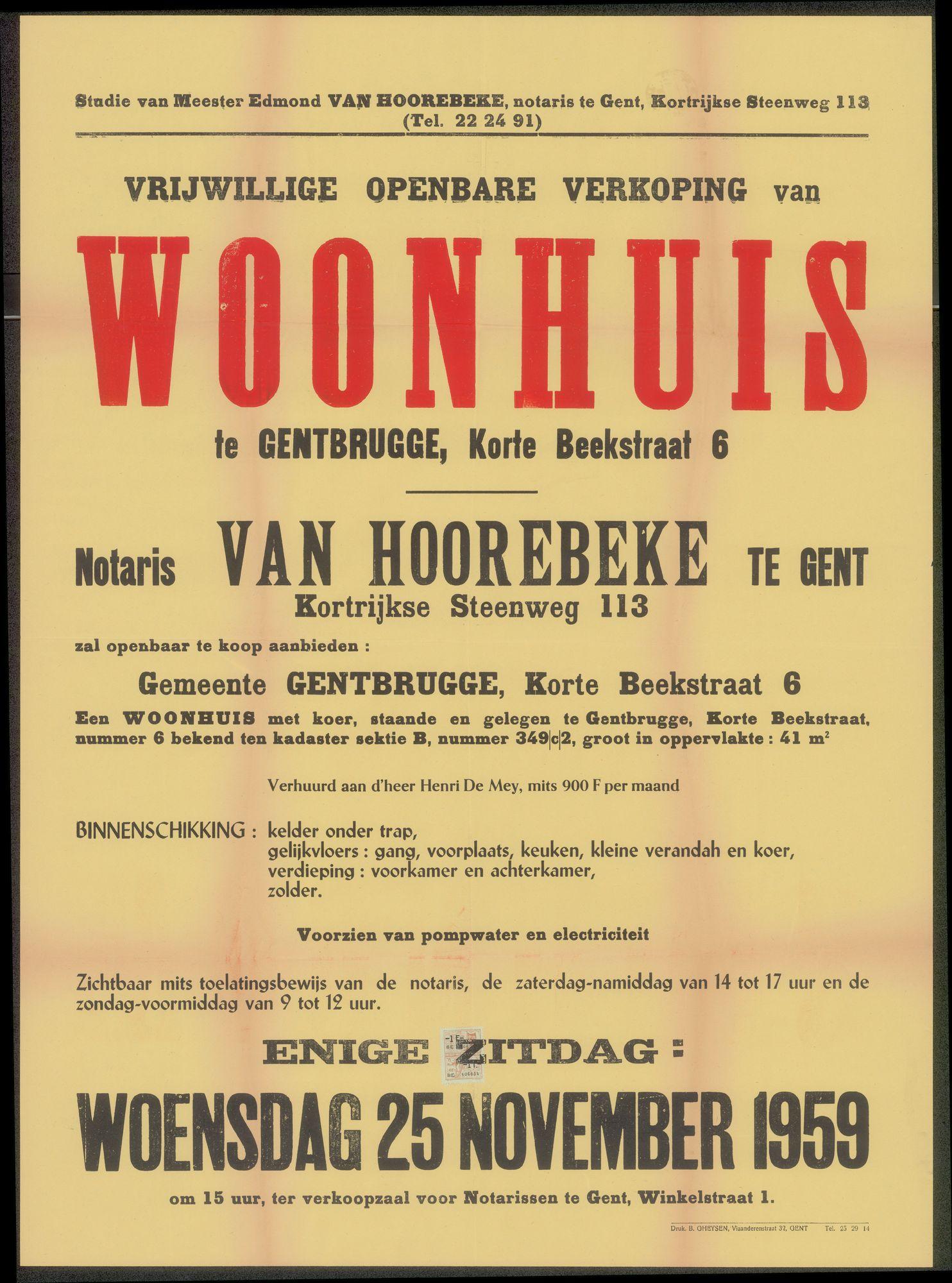 Vrijwillige openbare verkoop van woonhuis te Gentbrugge, Korte Beekstraat, nr.6, Gent, 25 november 1959