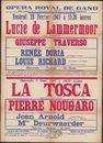 Lucie de Lammermoor. Giuseppe Traverso. La Tosca. Pierre Nougaro, Opera Royal de Gand (Koninklijke Opera Gent), Gent, 1947