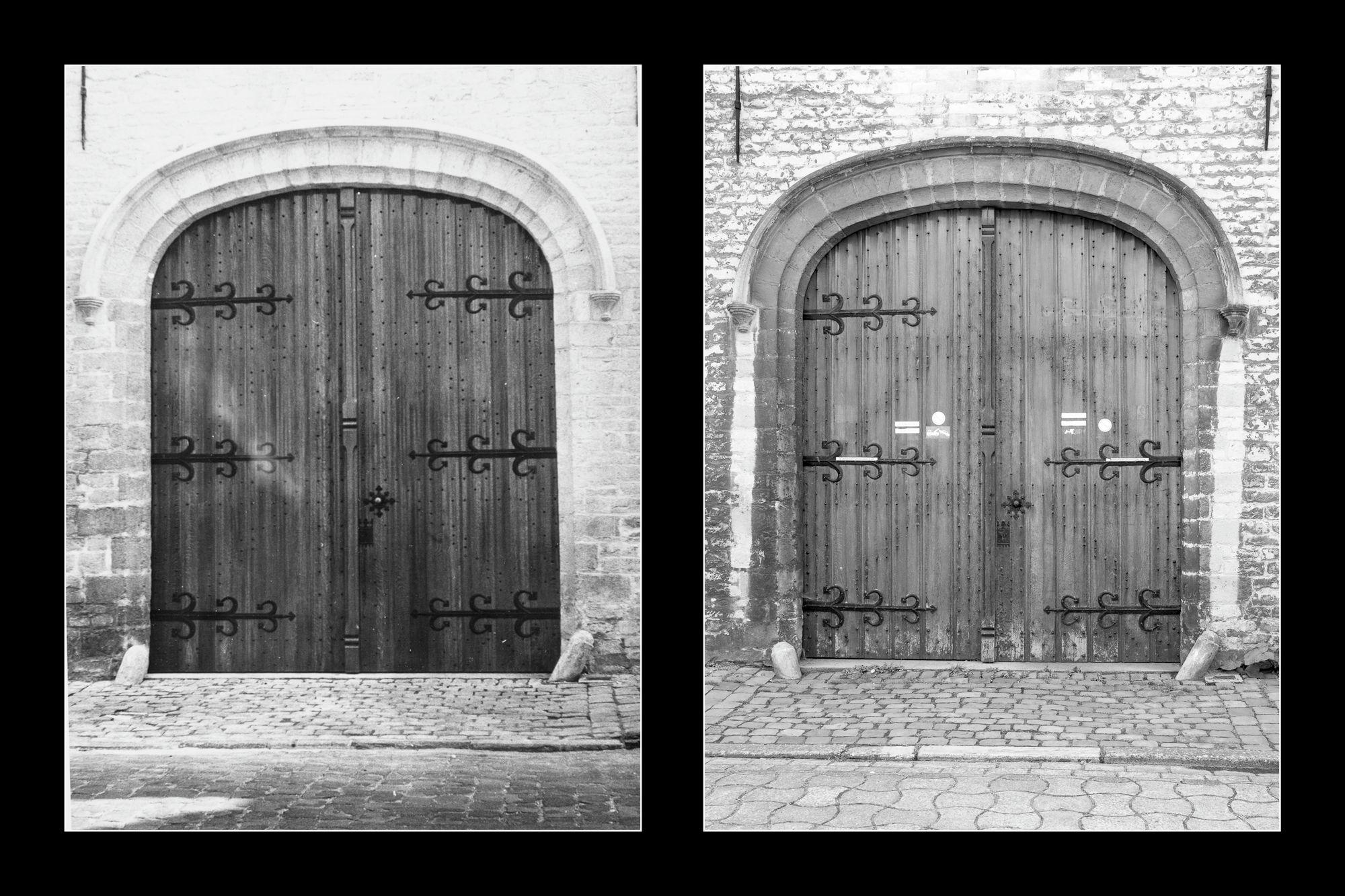 Gent: Abrahamstraat: Berg van Barmhartigheid (Stadsarchief van 1932 tot 2005): toegangspoort