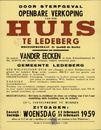 Openbare verkoop van een huis te Ledeberg, Hoefijzerstraat, nr.21 (nabij de Kerk), Gent, 25 februari 1959