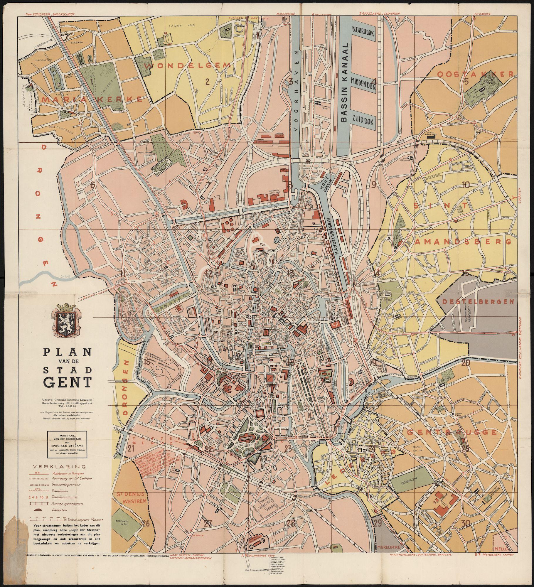 Kaart van de stad Gent en van delen van de buurgemeenten, 1955