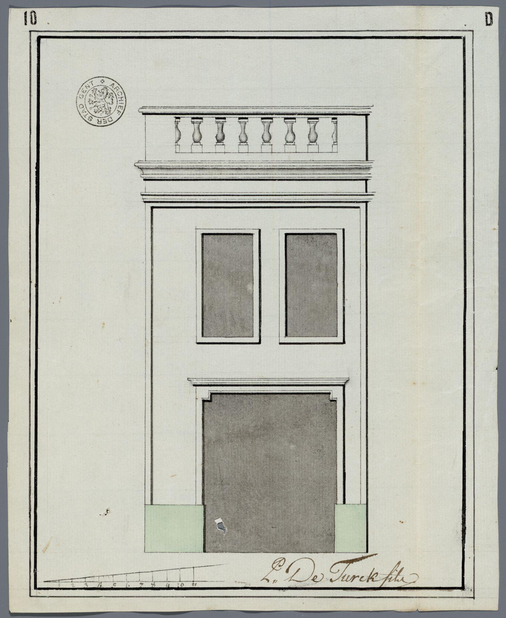 Gent: Huidevetterskaai, 1792: opstand voorgevel: nieuwe toestand