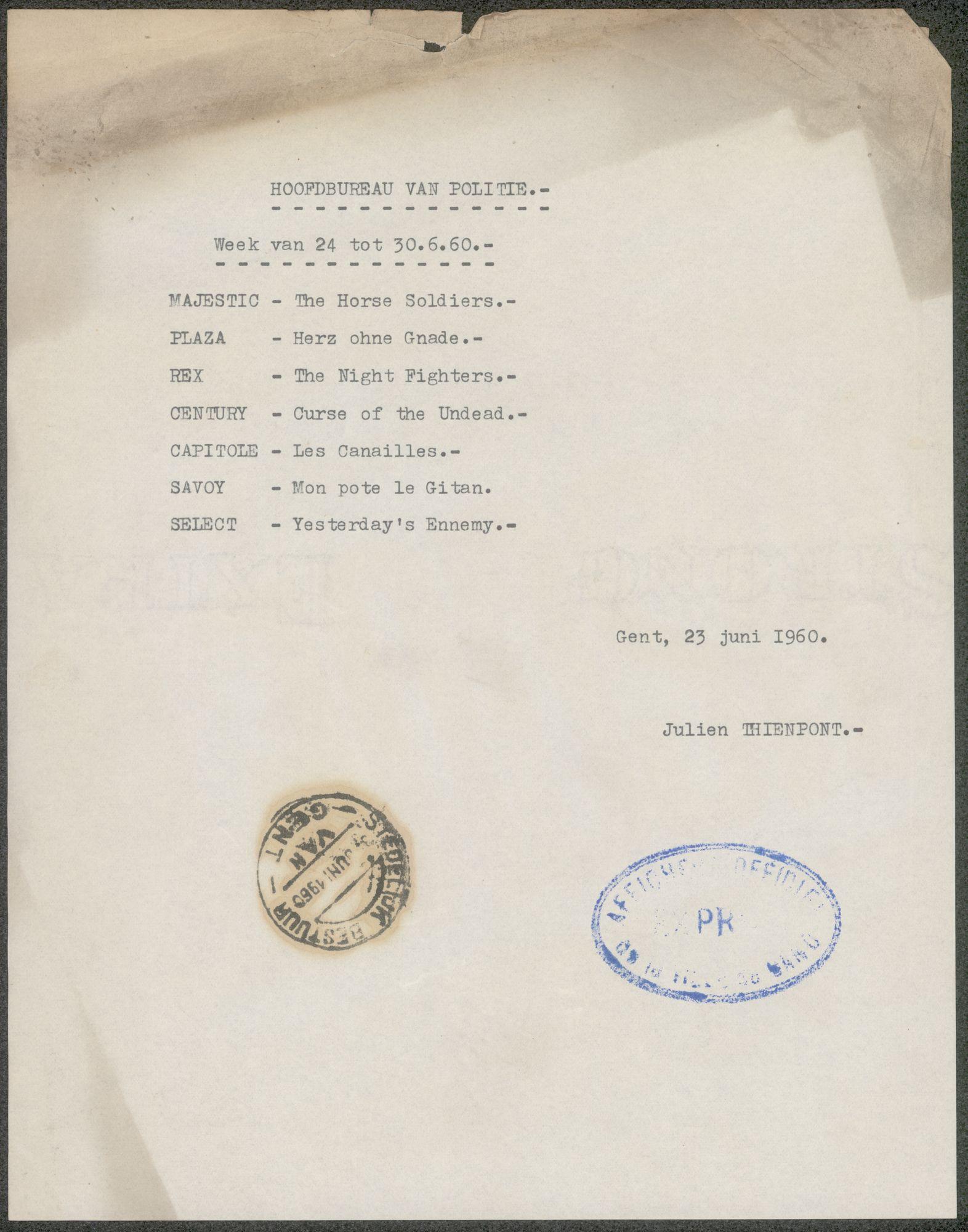 Lijst van filmaffiches afgegeven aan het hoofdbureau van politie, Gent, week van 24 tot 30 juni 1960
