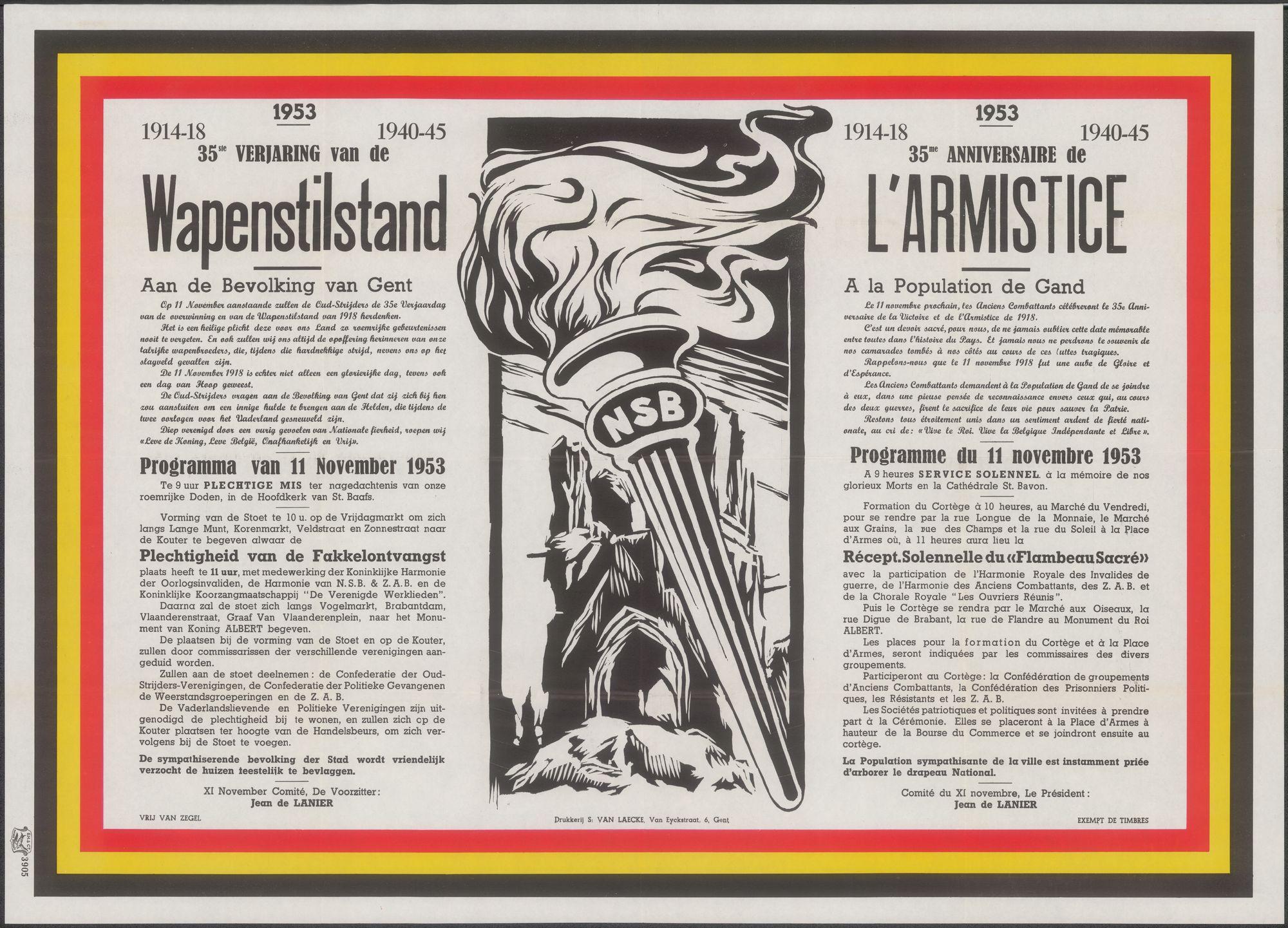 Herdenkingsplechtigheid van de 35e verjaring van de Wapenstilstand 1914-18, 1940-45, Gent, 1953
