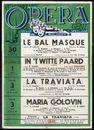 Le Bal Masqué, G. Verdi. In 't Witte Paard, R. Benatzky. La Traviata, G. Verdi. Maria Golovin, G.C. Menotti, Koninklijke Opera Gent, Gent, 30 maart - 6 april 1960