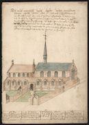 Gent: Sint-Margrietstraat: Sint-Stephanuskerk en klooster van de augustijnen, voor 1580, met nota na 1606