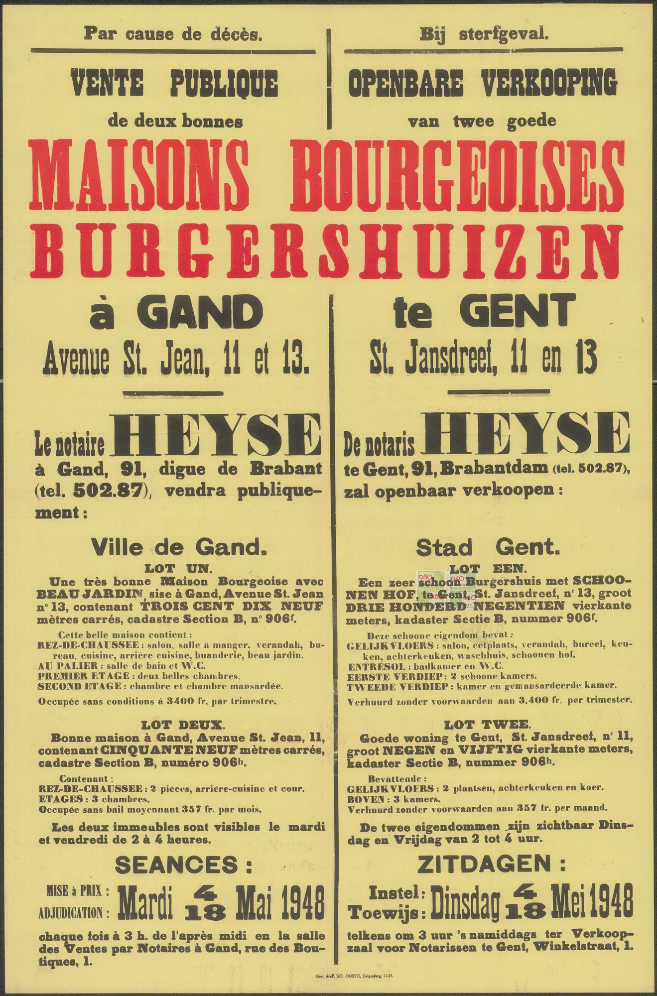 Openbare verkoop van twee goede burgershuizen te Gent, Sint-Jansdreef, nrs.11 en 13, Gent, 18 mei 1948
