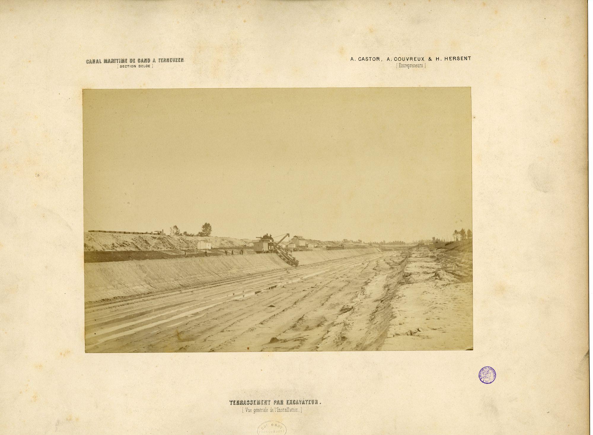 Gent: uitgraven Kanaal Gent-Terneuzen met graafmachine, c.1875