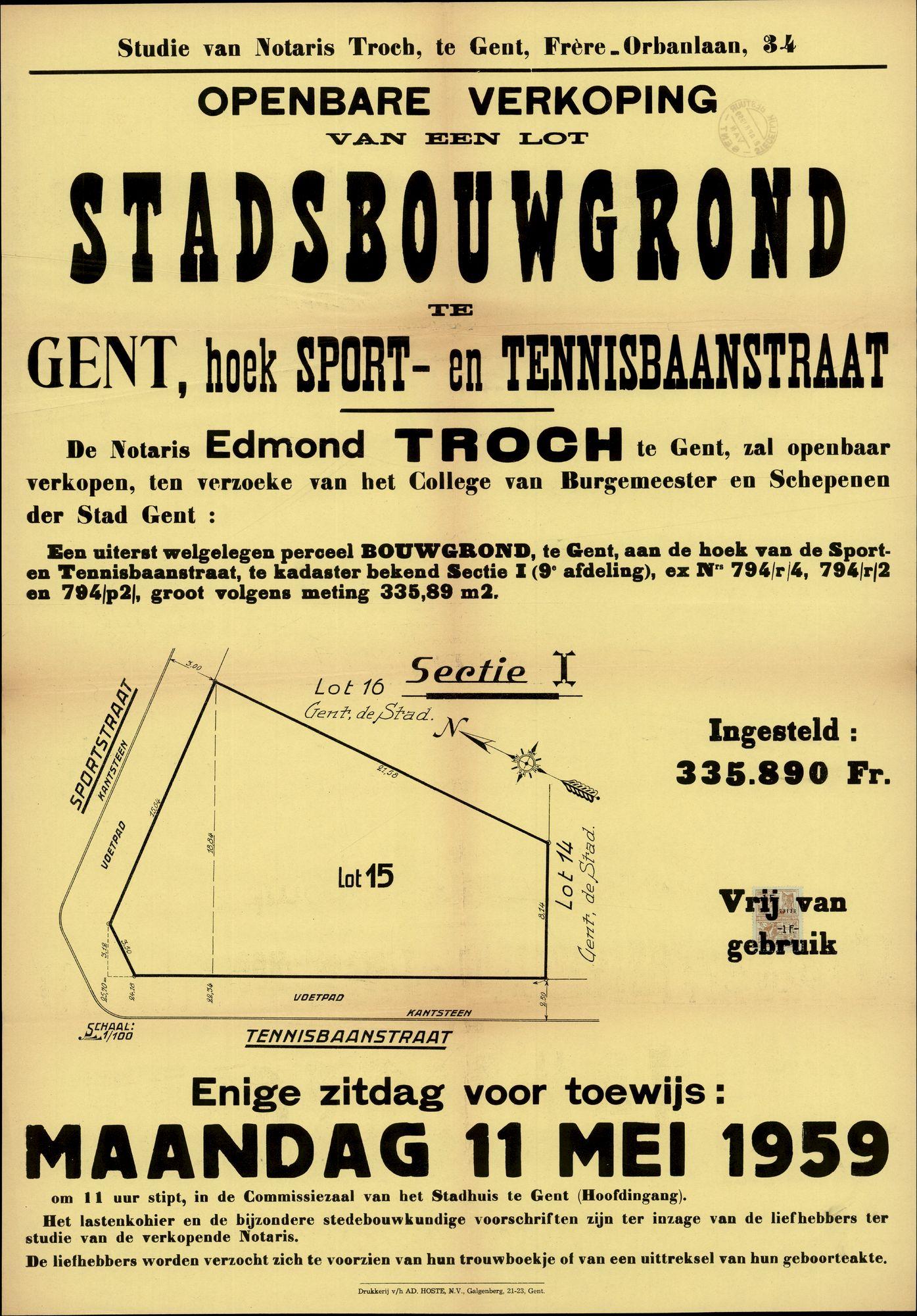 Openbare verkoop van een lot stadsbouwgrond te Gent, hoek Sport- en Tennisbaanstraat, Gent, 11 mei 1959