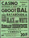 """Groot bal met Bataboudila en zijn gekende 9 man sterke Neger- & Blankenformatie """"Black and White"""" en met de medewerking van Romain Deconinck, Casino, Stadspark (Citadelpark), Gent, 8 maart 1958"""