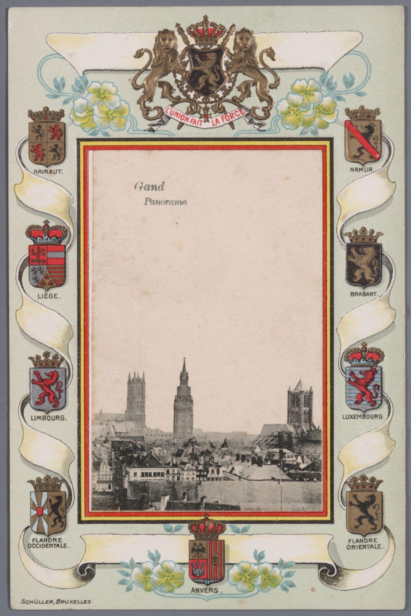 Gent: panoramazicht op de drie torens