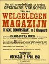 Openbare verkoop van een welgelegen magazijn te Gent, Biekorfstraat, nr.3 (Dampoort), Gent, 5 april 1961