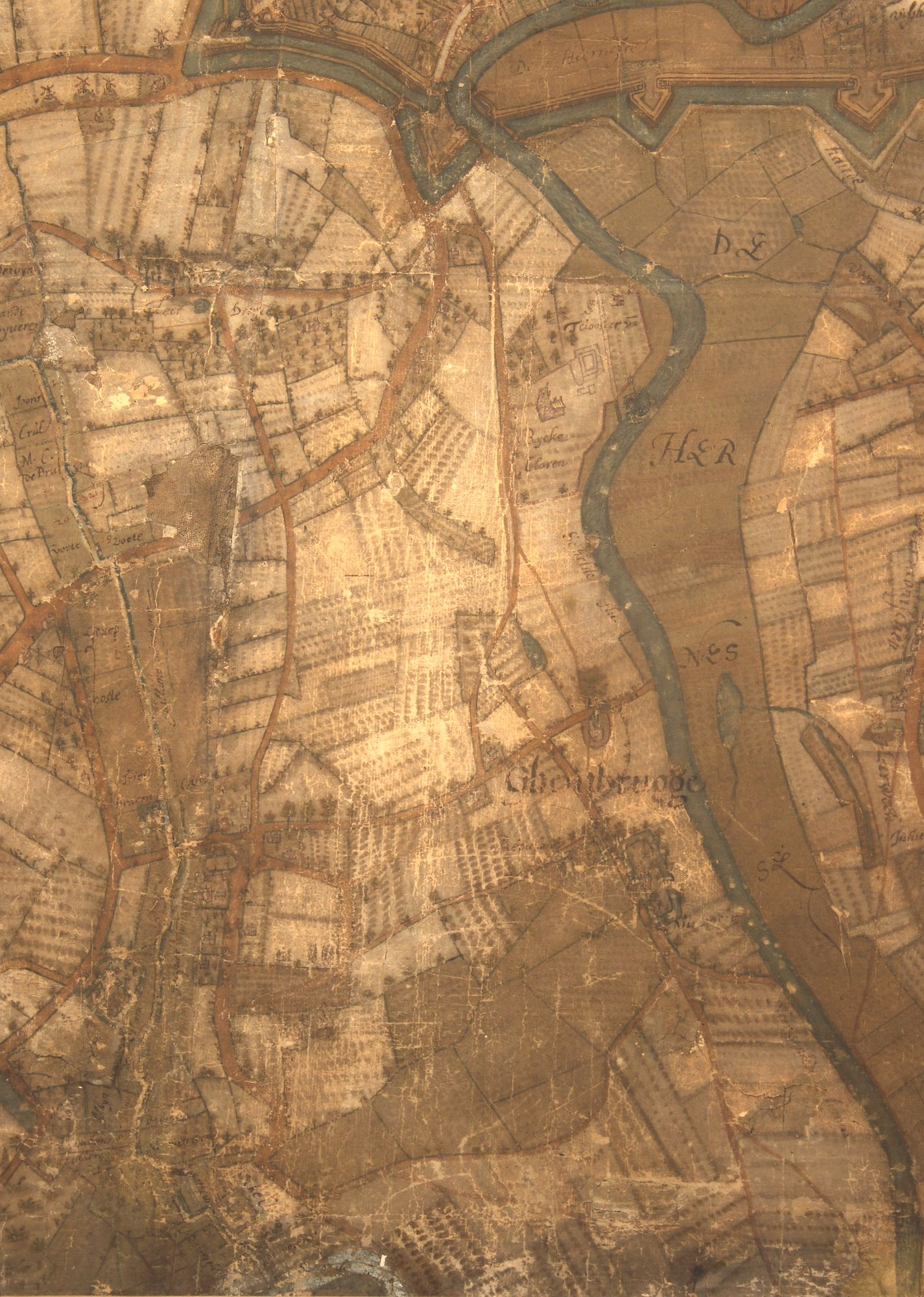 Ledeberg-Noord, Gentbrugge-Noord en de Heirnis of Heernis: kaartdeel 09 (XIII) van de Kaart van Gent en het Vrije van Gent afgebakend door de Rietgracht, Jacques Horenbault, 1619