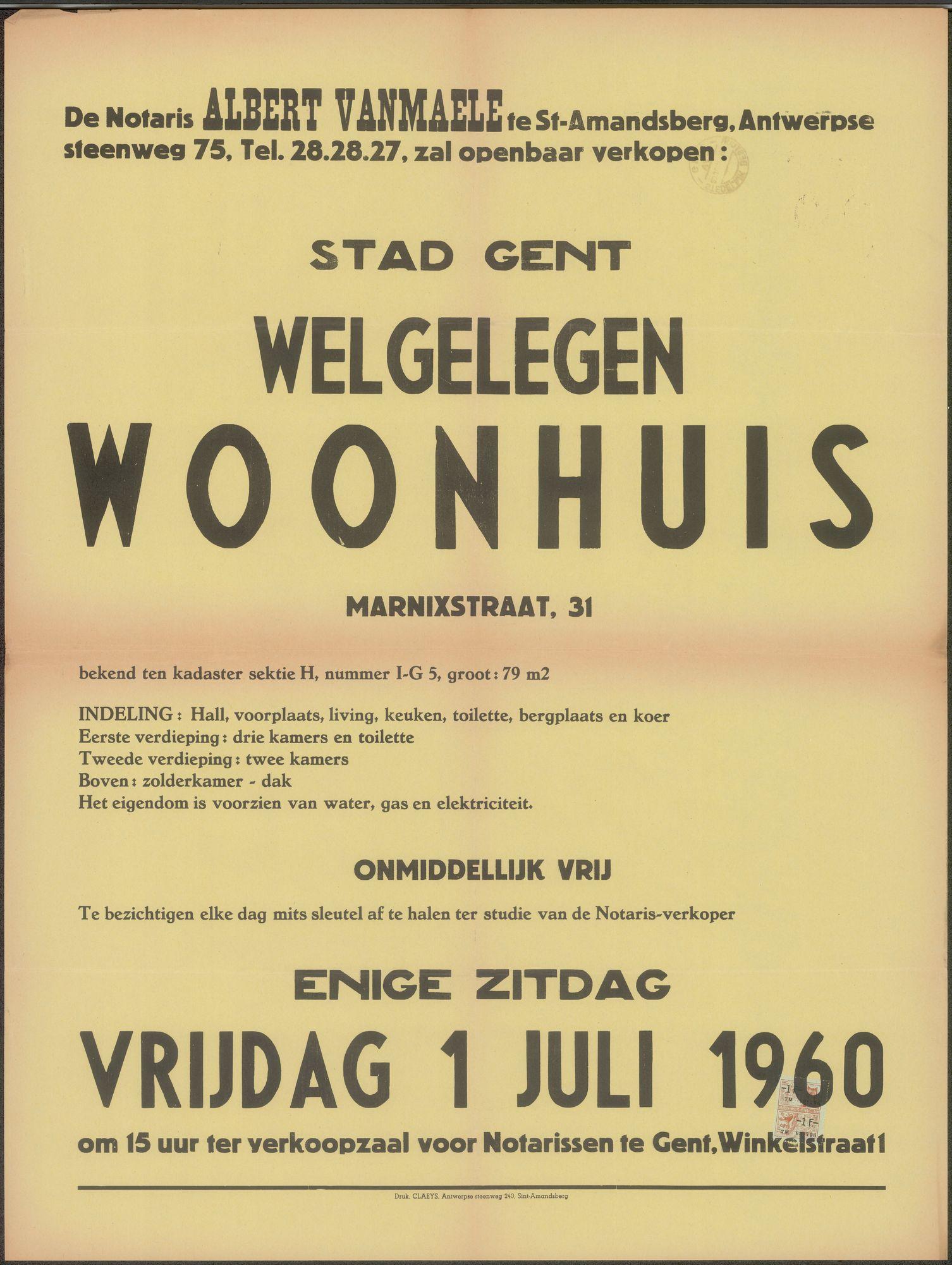 Openbare verkoop van welgelegen woonhuis, Marnixstraat, nr.31, Gent, 1 juli 1960