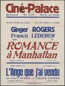 Romance à Manhattan (film 1), L'ange que j'ai vendu (film 2), Ciné Palace, Gent, 26 april - 2 mei