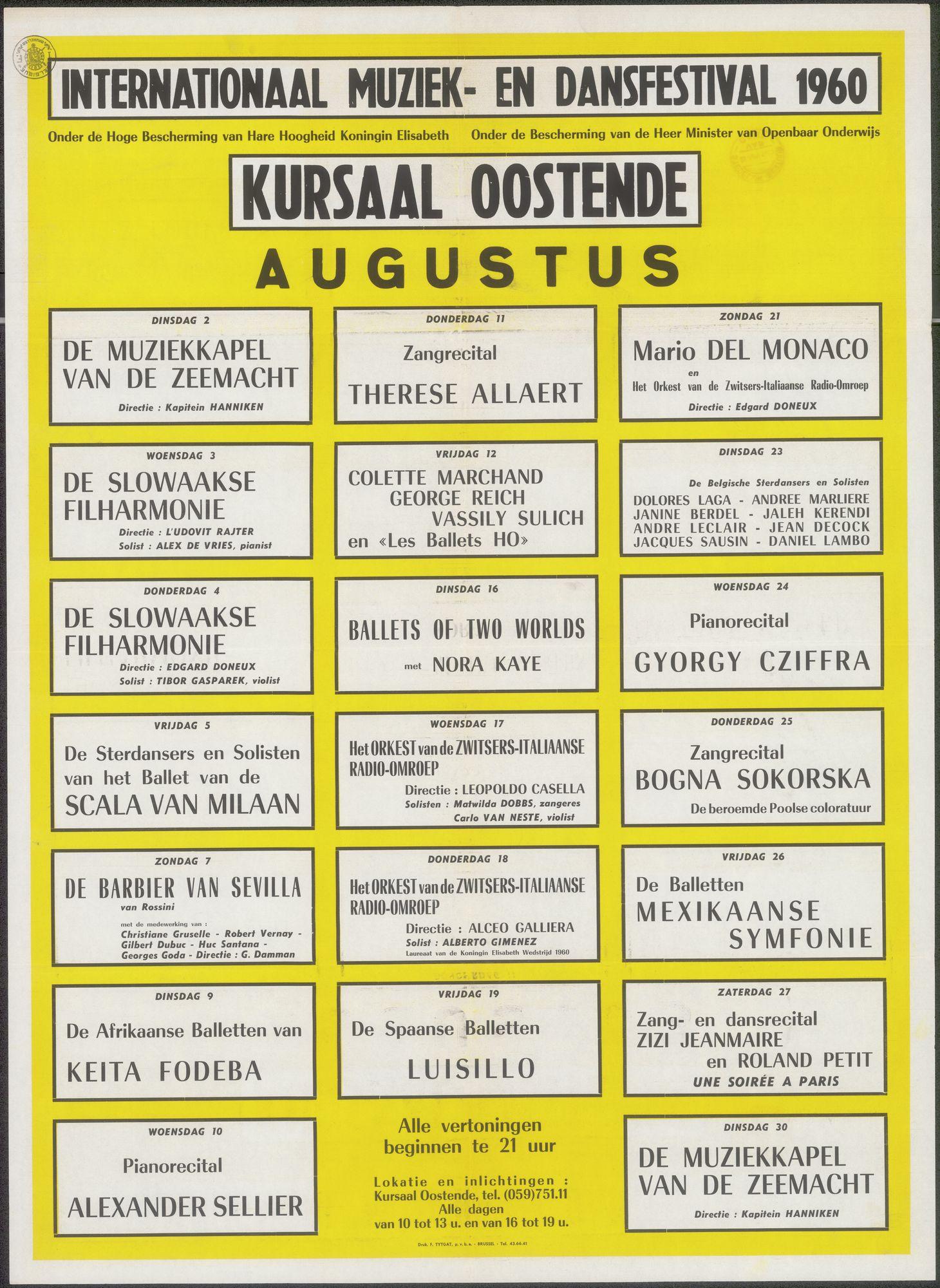 Internationaal Muziek- en Dansfestival 1960, Kursaal Oostende,  augustus 1960